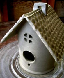 ceramic bird houses greenware