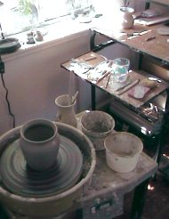 electric pottery wheel in pottery studio