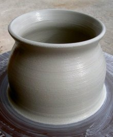ceramic floor vase in two parts making clay pottery